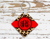 Animal print monogram keychain or frame with red - Leopard print car accessories
