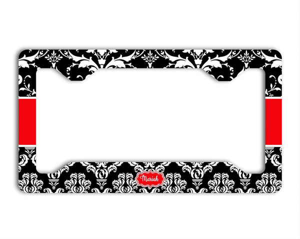 Black and white floral damask with red - Pretty personalized gifts for women