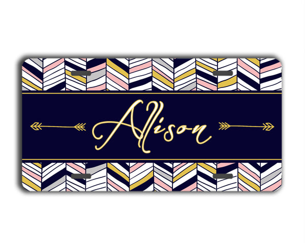 Tribal chevron print in deep navy blue, pink and gray - Monogram license plate