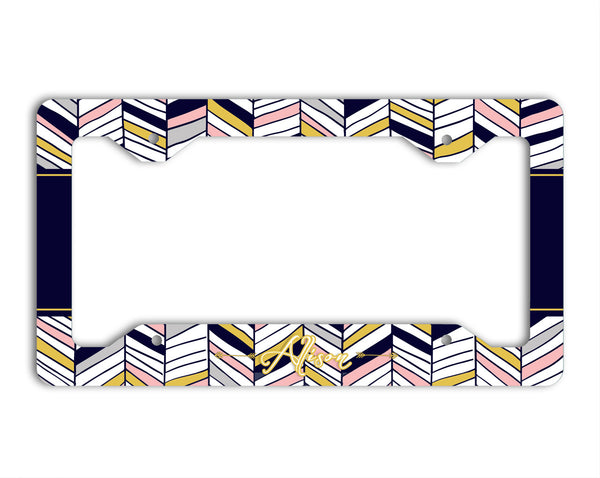 Tribal chevron print in deep navy blue, pink and gray - Monogram seat belt cover