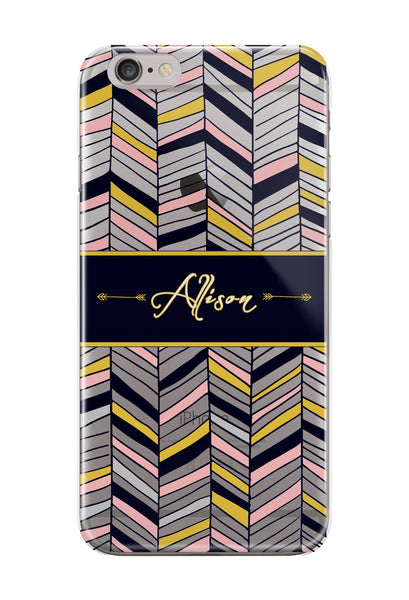 Monogrammed Aztec iPhone clear case - Navy blue, pink tribal pattern - Gifts for teen daughters
