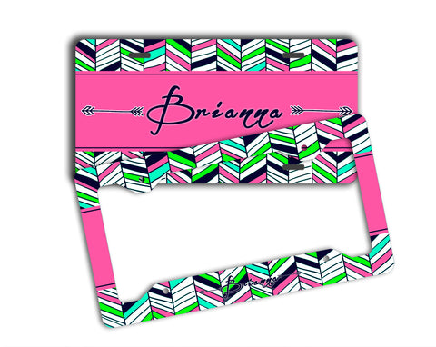 Tribal chevron print in hot pink, lime green - personalized girl's license plate