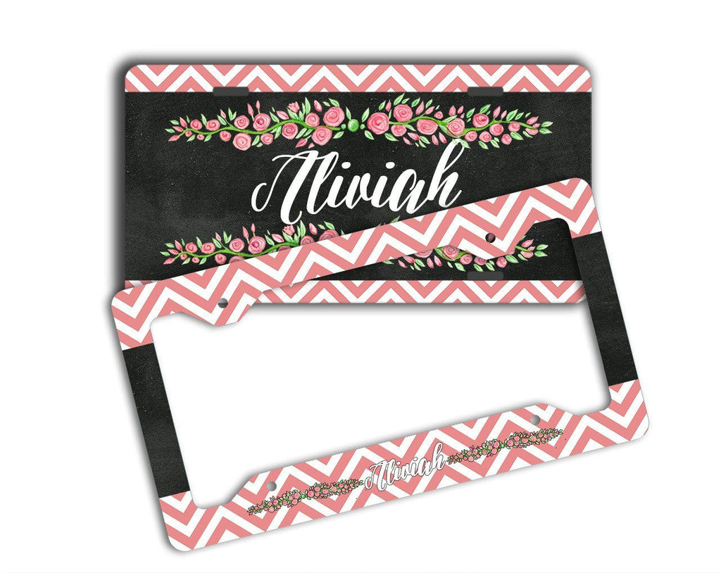 Faux chalkboard look license plate or frame - Monogrammed chevron with roses