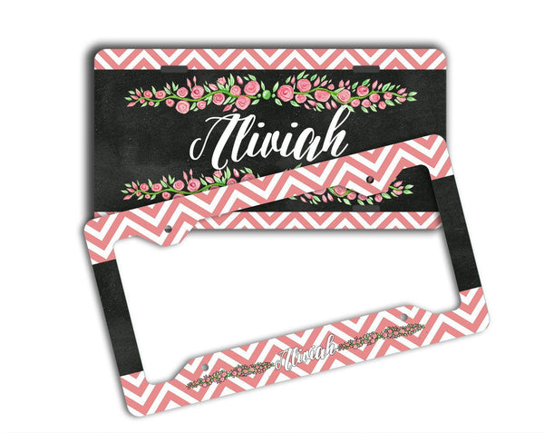 Faux chalkboard look car window sticker - Monogrammed chevron with roses