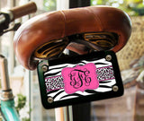 Tiger stripe and cheetah print - Hot pink and black custom front license plate or frame