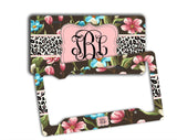 Pink floral and cheetah auto accessories for girls - Monogram license plate or frame