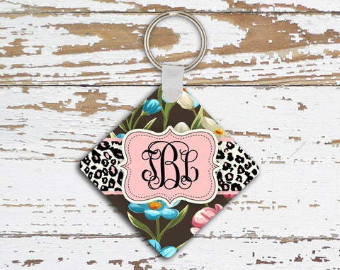 Pink floral and cheetah auto accessories for girls - Monogram key chain
