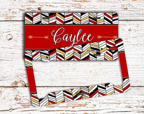 Tribal chevron in red - Monogrammed license plate or frame - Cute car decor