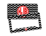 Black and white chevron with red - Monogrammed license plate or frame - Gifts for granddaughter