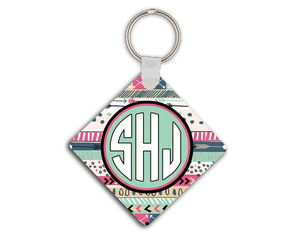 Girly auto accessories - Aztec print in light blue and purpley pink - Monogrammed key chain