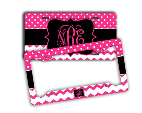Hot pink and black polka dots with chevron - Girly auto accessories for her