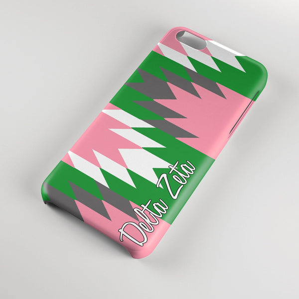 Delta Zeta - Aztec print in pink with green - DZ sorority Iphone case