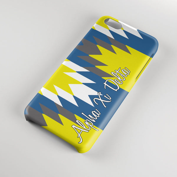 Alpha Xi Delta - Aztec print in blue and silver chevron with gold - AXiD sorority Iphone case