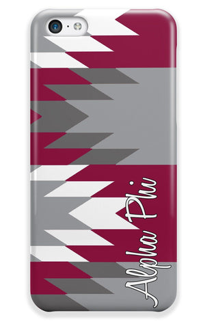 Alpha Phi - Aztec print in maroon with grey - Sorority Iphone case
