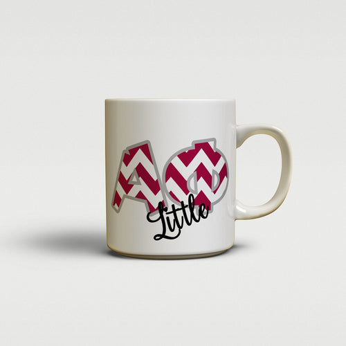 ALPHA PHI - CUTE CHEVRON LETTERS - APhi SORORITY BIG AND LITTLE MUG
