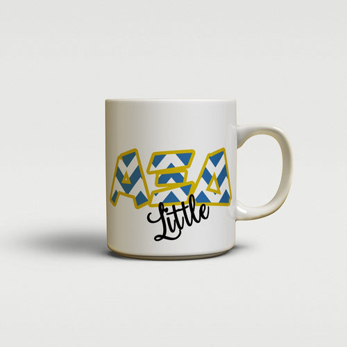 ALPHA XI DELTA - CUTE CHEVRON LETTERS - AXiD SORORITY BIG AND LITTLE MUG