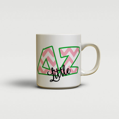 DELTA ZETA- CUTE CHEVRON LETTERS - DZ SORORITY BIG AND LITTLE MUG