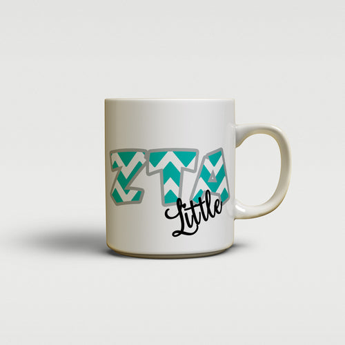 ZETA TAU ALPHA - CUTE CHEVRON LETTERS - ZTA SORORITY BIG AND LITTLE MUG