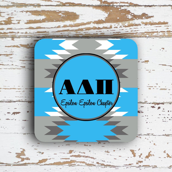 ALPHA DELTA PI  COASTER - LARGE AZTEC PATTERN - PERSONALIZED