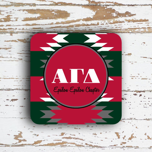 ALPHA GAMMA  DELTA  COASTER - LARGE AZTEC PATTERN - PERSONALIZED