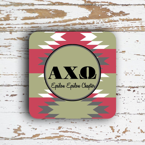 ALPHA CHI OMEGA  COASTER - LARGE AZTEC PATTERN - PERSONALIZED