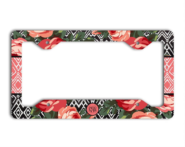 Roses with Ikat in pink and red - Pretty floral decal - Monogram Gifts for women