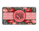 Roses with Ikat in pink and red - Pretty floral seat belt strap cover - Gifts for women