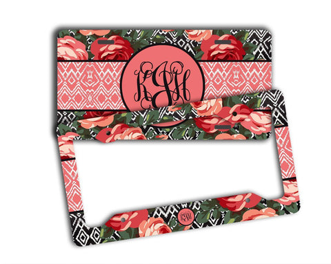 Roses with Ikat in pink and red - Pretty floral license plate or frame - Gifts for women