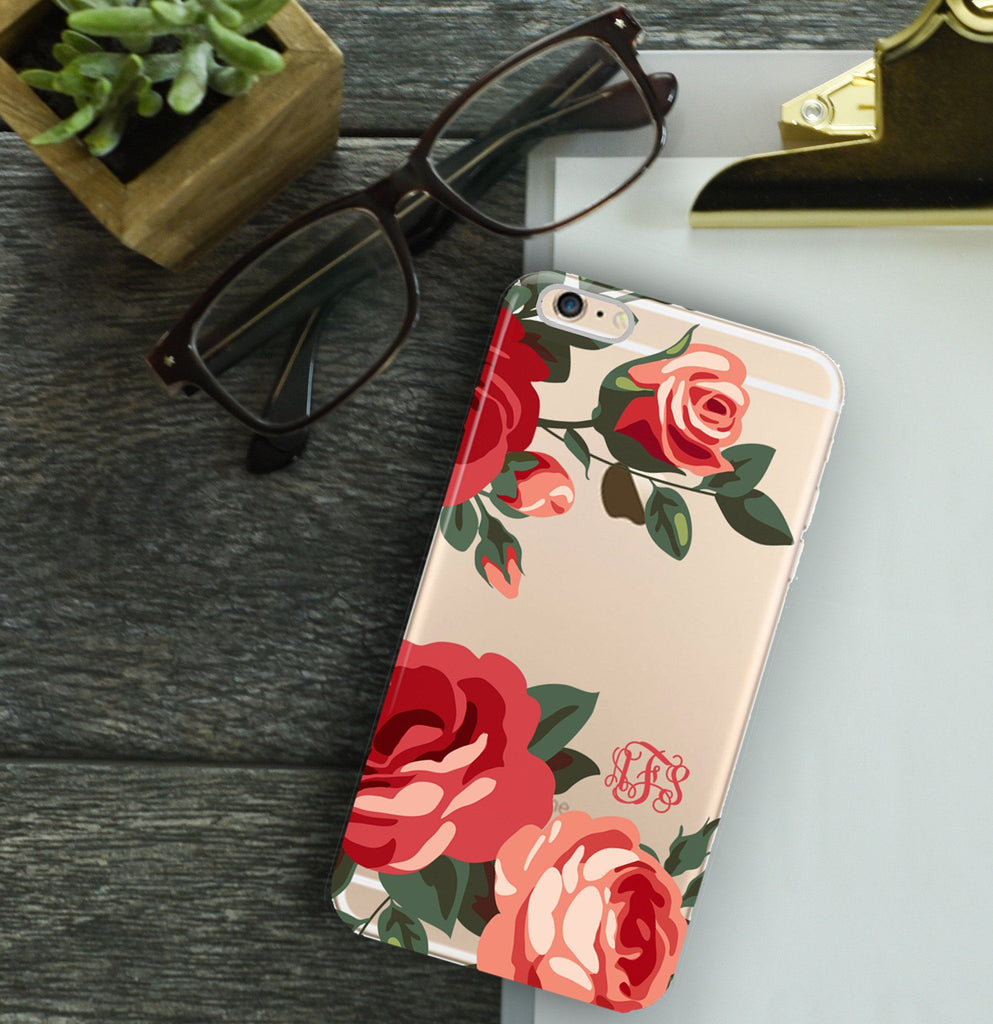 Clear design iPhone case - Dark red coral and pink roses - Pretty monogram case for her
