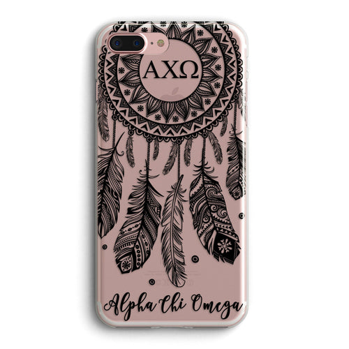 Alpha Chi Omega - Clear iPhone case with black dreamcatcher design