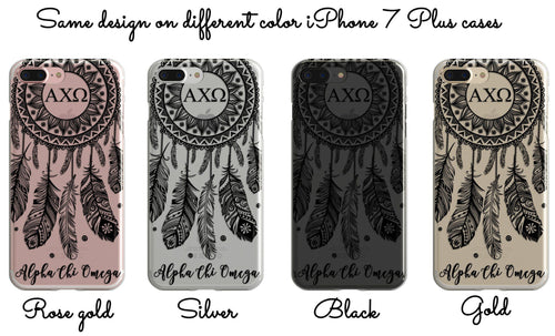 Delta Zeta - Clear iPhone case with black dreamcatcher design
