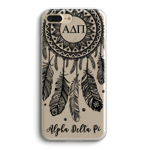Alpha Delta Pi - Clear iPhone case with black dreamcatcher design