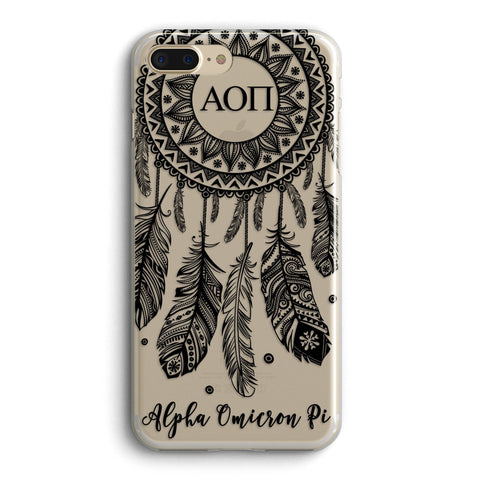 Alpha Omicron Pi - Clear iPhone case with black dreamcatcher design