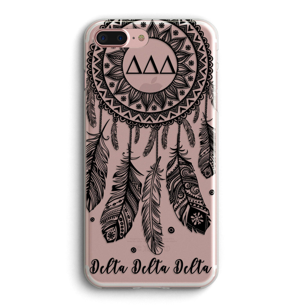 Delta Delta Delta - Clear iPhone case with black dreamcatcher design
