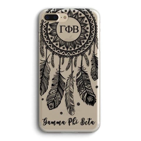 Gamma Phi Beta - Clear iPhone case with black dreamcatcher design