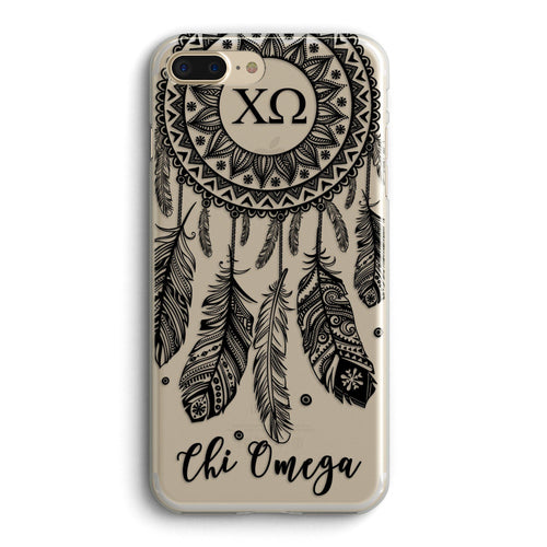 Chi Omega - Clear iPhone case with black dreamcatcher design