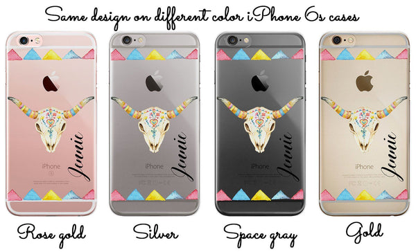 iPhone clear case with design, Bull skeleton with roses and monogram