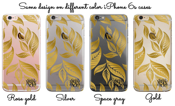 Fall or autumn iPhone case, Transparent back with TPU bumpers, Gold leaves