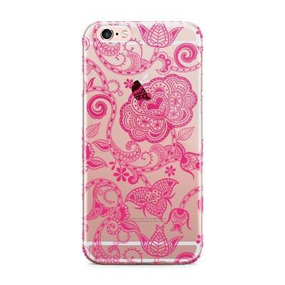 Clear iPhone case with design, Pink henna pattern, Monogram gifts for her