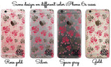 Pink and gray roses, Clear iPhone case with flowers, Customized with initials