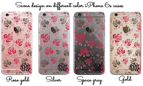 Pink and gray roses, Clear iPhone case with flowers, Customized with initials, Floral
