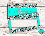Bright minty turquoise chevron - Tribal monogrammed seat belt cover