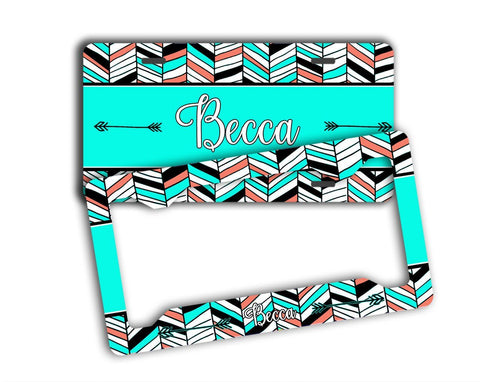 Bright minty turquoise chevron - Tribal monogrammed license plate or frame