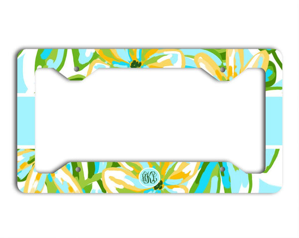 Pretty floral monogrammed license plate or frame - Green and turquoise
