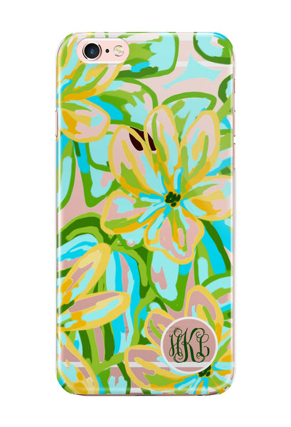 Turquoise floral iPhone clear case, Protective TPU bumpers