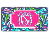 Blue car coaster - Turquoise tropical print - Pretty pink and blue car decor for her