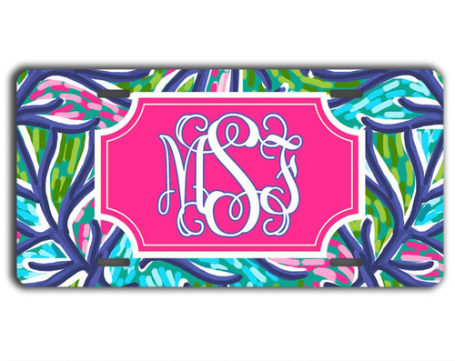 Blue and turquoise tropical print - Pretty pink and blue license plate