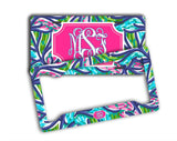 Blue and turquoise tropical print - Pretty pink and blue padded seat belt cover