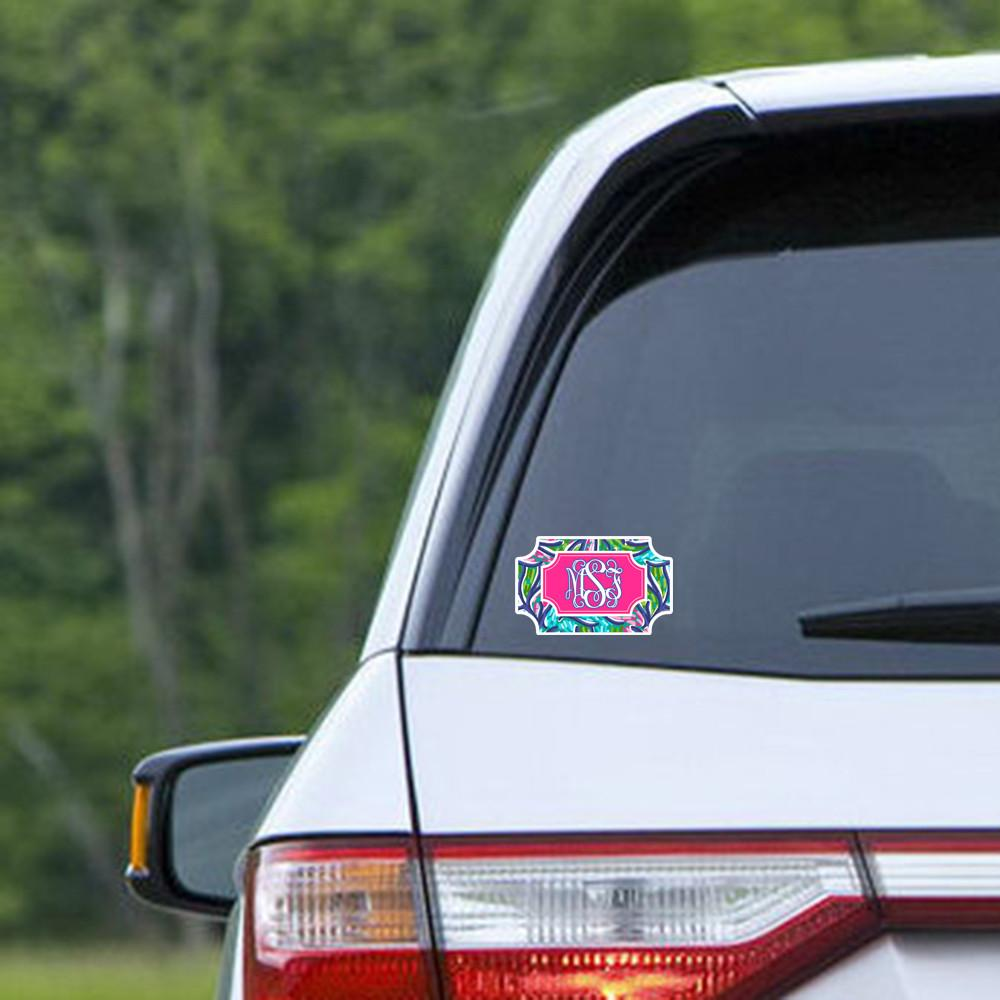 Blue and turquoise tropical print - Pretty pink and blue monogram car decal