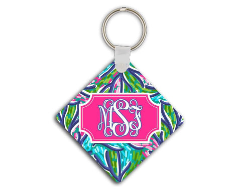 Blue and turquoise tropical print - Pretty pink and blue monogram keychain